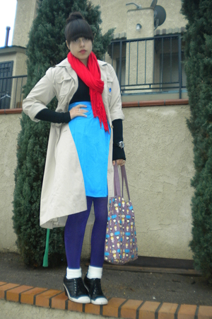 beige coat - black BP Nordstrom sweater - blue apostrophe skirt - purple DKNY ti