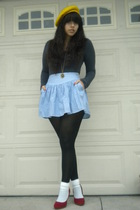 gray Rubish shirt - blue Necessary Objects skirt - black DKNY tights - white soc