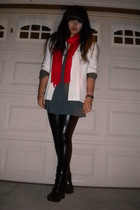 white blazer - red Jones New York accessories - gray J Ferrar shirt - black legg