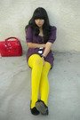 Purple-dress-yellow-tights-black-sam-libby-shoes-red-accessories