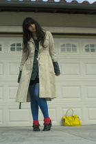 beige coat - gray blouse - black skirt - blue DKNY tights - red socks - yellow a
