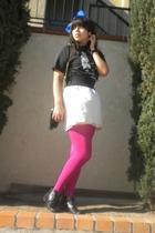 black shirt - black belt - white skirt - pink top - black accessories - black sh