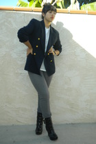 blue blazer - black boots - gray jeans - white t-shirt