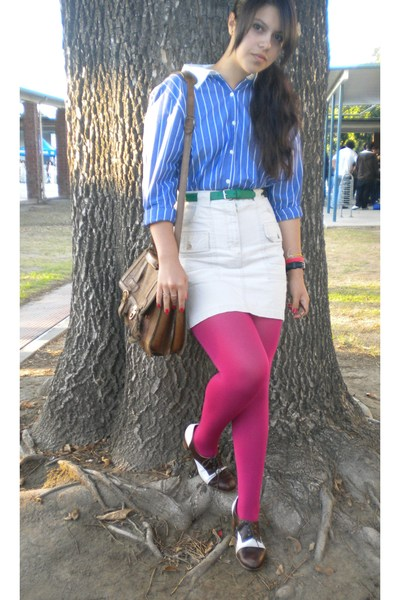 Karen Scott shirt - belt - gift from mom skirt - DKNY tights - 12 year old bag a
