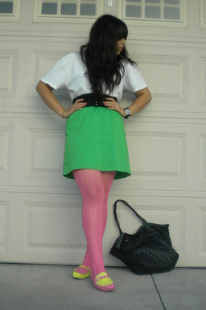 t-shirt - belt - Ralph Lauren skirt - tights - Painted by me shoes - fashion exp