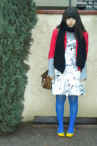 red blazer - black scarf - gray shirt - white dress - blue tights - yellow shoes