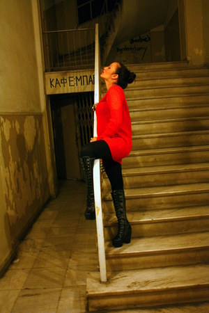 black tardy hi Jeffrey Campbell boots - red mohair Topshop jumper