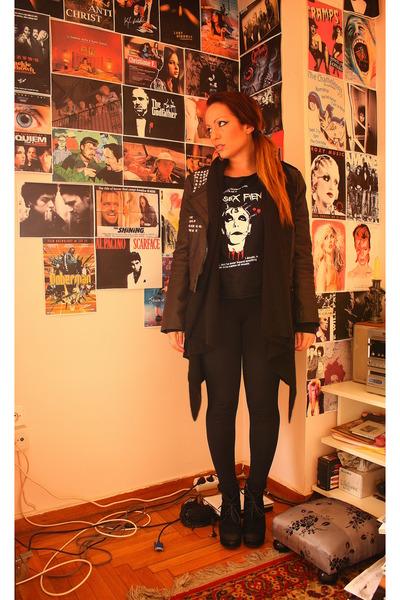 Diy Studded Jackets Old Band Ts Shirts Black By