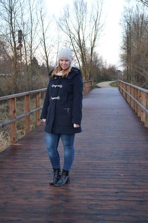 navy Only coat - black goertz boots - jeggins Esprit jeans - beige H&M hat