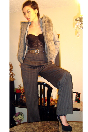 black vest - black La Perla top - fetishism accessories - gray jacket