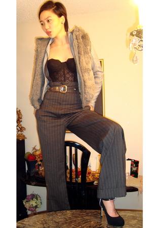 black vest - black La Perla top - fetishism accessories - gray jacket