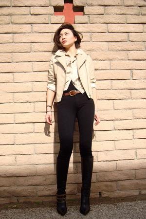 beige jacket - black Gucci boots - brown wwwfetishismetsycom accessories