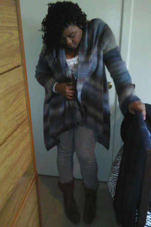 blue Fashion Bug cardigan - silver Target jeans - brown sporto boots - white TJ