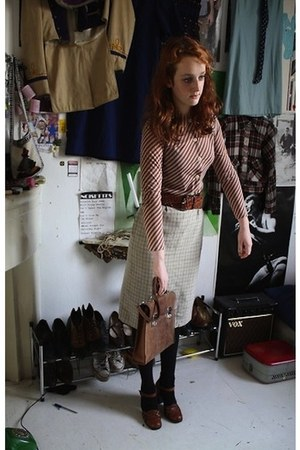 brown bag - camel home decor - beige checkered skirt skirt - dark brown blouse