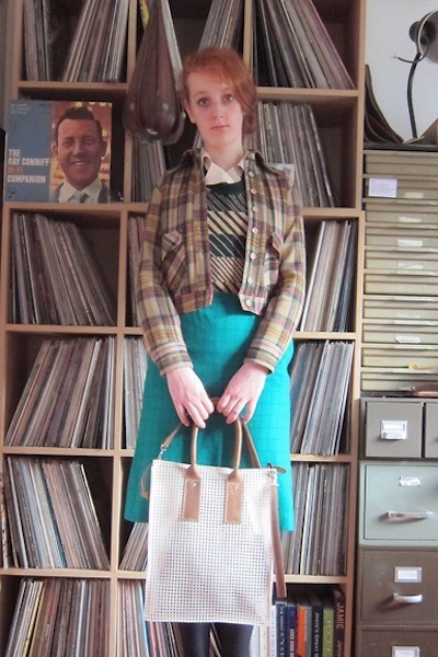 nude checked jacket - cream chrisvanveghel bag - teal home decor