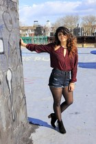 Bakers boots - H&M tights - Urban Outfitters shorts - sheer Urban Outfitters top