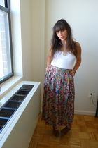 white Old Navy top - beige vintage skirt - brown vintage shoes - gold vintage ne