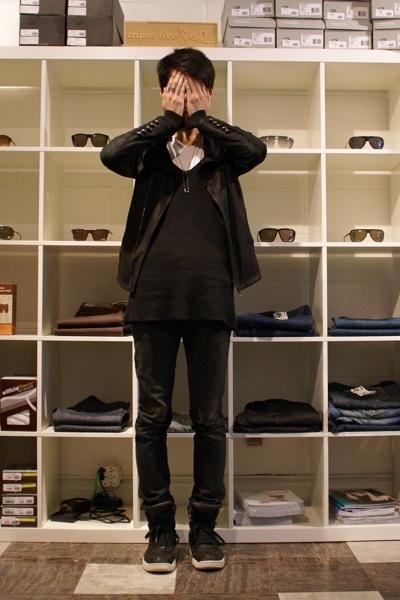 Diet Butcher Slim Skin jacket - Rick Owens sweater - Endovanera t-shirt - DRKSHD