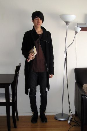 black Rick Owens coat - red Rick Owens top - gray DRKSHDW jeans - black Fiorenti