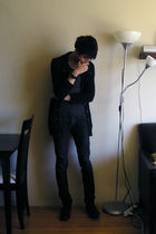black funnel neck tailored cardigan - black oxfords free people shoes