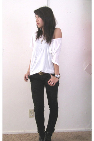 lace-up booties Forever 21 shoes - soft Charlotte Russe shirt - charm Forever 21