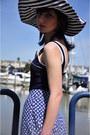 Striped-vintage-hat-vintage-skirt-nautica-symbol-vintage-swimwear