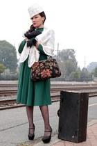dark green cotton blend vintage dress - lace vintage hat