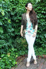 White-white-denim-jcrew-jeans-army-green-forever-21-jacket