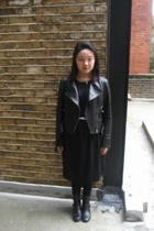 Covent garden leather shop jacket - COS dress - random from Hong Kong belt - Gap
