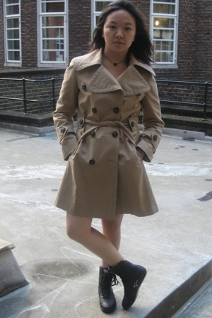 Zara coat - Urban Outfitters dress - Kangaroo boots - Les Nereides accessories