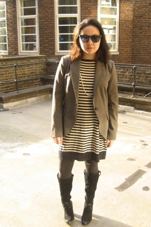 sunglasses - Zara blazer - Zara dress - Nine West boots