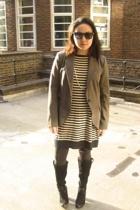 sunglasses - Zara blazer - Zara dress - Nine West boots