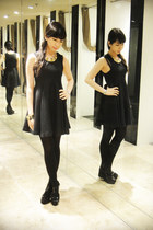 black vintage dress - black black tights sm department store tights