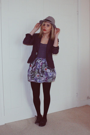 Topshop hat - thrifted vintage jacket - Topshop skirt