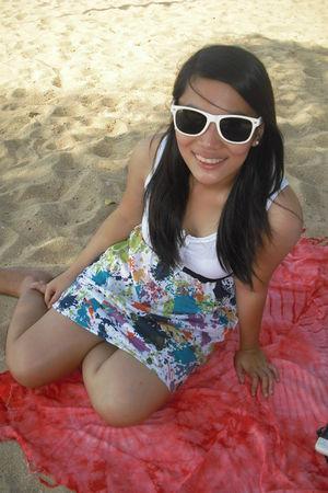white Thrifted Dress dress - white ray ban wayfarer sunglasses