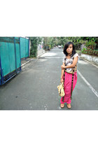 brown Debenhams scarf - nude Nica bag - hot pink The Ukay pants