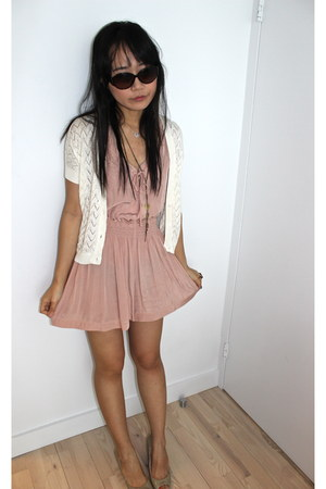 light pink Mango romper - nude Franco Sartos shoes - off white Mango cardigan