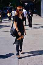 black American Apparel dress - black Zara shoes - black Chloé purse