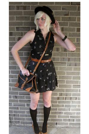 black dress - brown belt - black bag - brown Steve Madden shoes - black hat