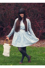 Sky-blue-thrifted-dress-ivory-vintage-bag-silver-thrifted-belt-dark-brown-