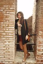 black random blazer - cream cotton random blouse - tawny cotton Amisu skirt