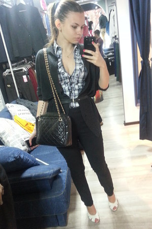 black leather bag - blue Tally Weijl blouse - black Vero Moda pants