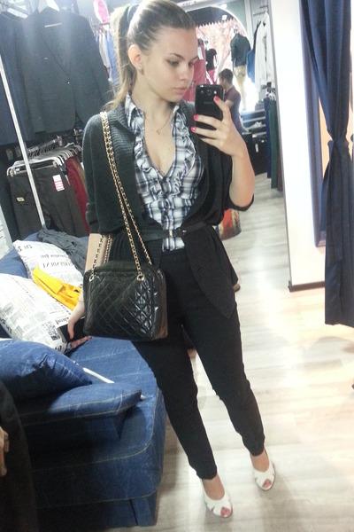 black leather bag - blue Tally Weijl blouse - black Vero Moda pants