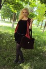Silver-tights-red-sweater-dark-brown-bag-black-shorts-silver-heels
