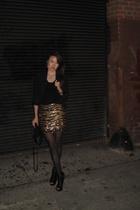 forver 21 skirt - vintage shirt - Aaneta purse - Bebe shoes
