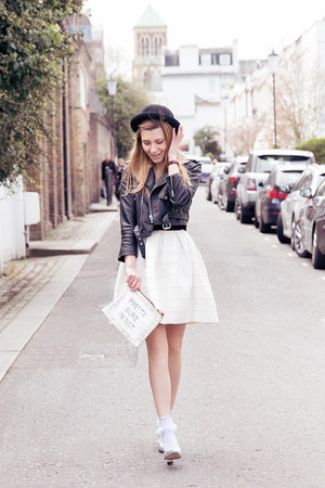 Nasty Gal dress - Nasty Gal jacket - asos bag - Topshop socks