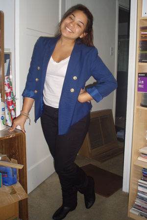 blue H&M blazer - black Forever21 pants - white Forever21 shirt - black Forever2