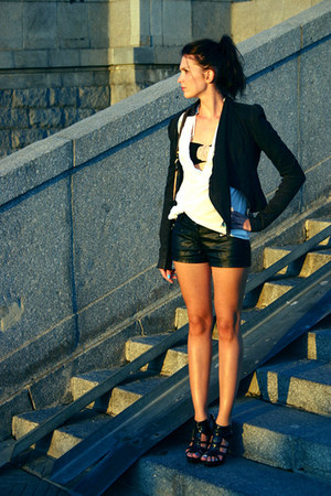 All Saints jacket - Ghibli bag - fishbone shorts - sonia rykel for h&m bra - Zar
