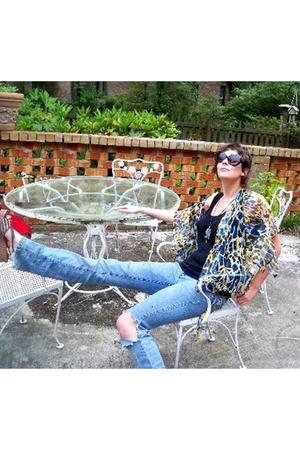 exchange factor sunglasses - moms shirt - Target shirt - TJ Maxx jeans - payless