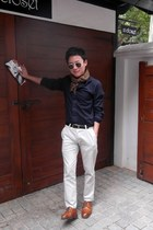 navy Zara shirt - ivory no brand pants